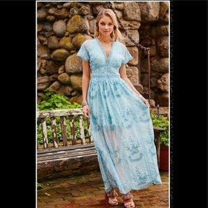 ALTAR'D STATE BLUE MARISKA MAXI DRESS SIZE SMALL